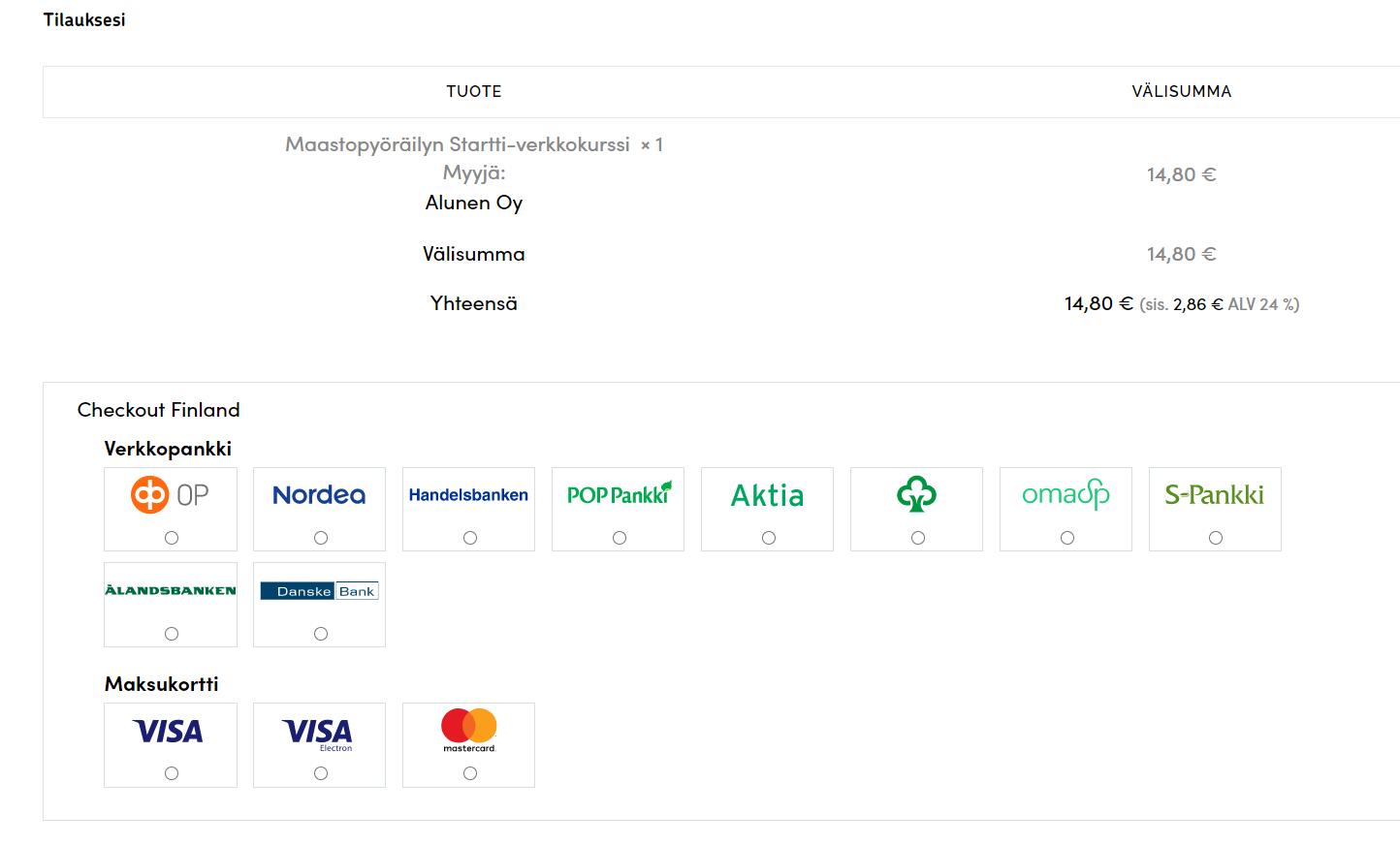 Maksuvaihtoehdot ovat näkyvissä kassasivulla Alusen verkkokaupassa.