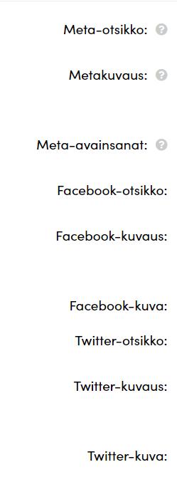 SEO ja somekanava-asetukset kirjataan Alusen kaupan hallintasivulta.