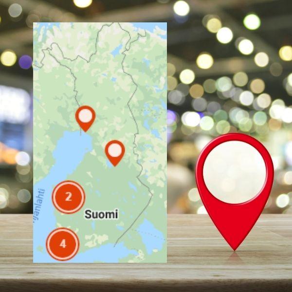Asiakas löytää liikunnan ja hyvinvoinnin yrittäjät kartalta Alusen messuilla netissä.