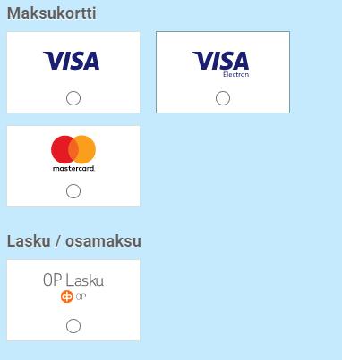 Maksukortti ja laskumaksutapa Alusen verkkokaupassa.